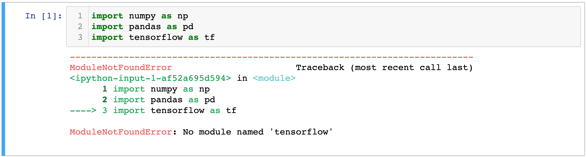 An error message received when trying to import TensorFlow